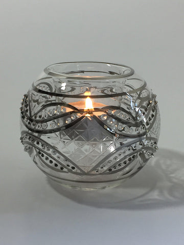 Blown Glass Candle Holder - Silver Carousel