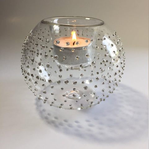 Blown Glass Candle Holder - Silver Dots
