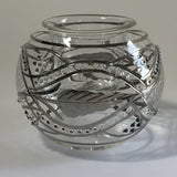 Blown Glass Candle Holder - Silver Garland & Leaves