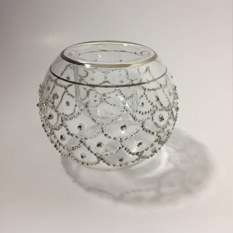 Blown Glass Candle Holder - Silver Lace