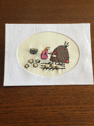 Handmade Recycled Paper Greeting Card with Embroidery - Baking Bread