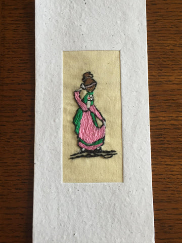 Handmade Recycled Paper Greeting Card with Embroidery - Water Carrier