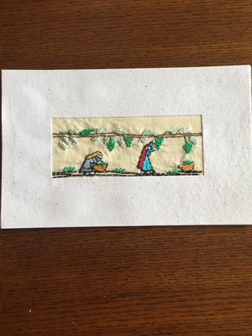 Handmade Recycled Paper Greeting Card with Embroidery - Vineyard