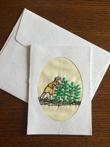 Handmade Recycled Paper Greeting Card with Embroidery - Harvesting