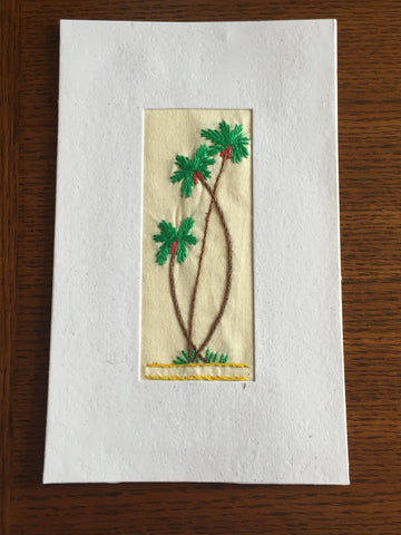 Handmade Recycled Paper Greeting Card with Embroidery - Palm Trees
