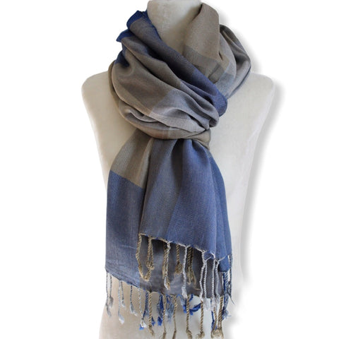 Plaid Handwoven Scarf - Blue & Beige