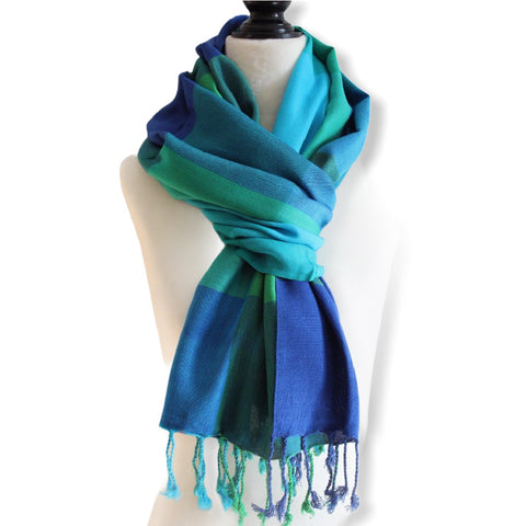 Plaid Handwoven Scarf - Blue & Green