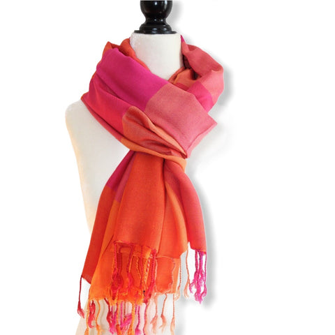 Plaid Handwoven Scarf - Fuchsia & Orange