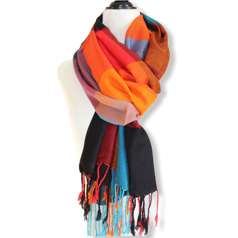 Plaid Handwoven Scarf - Orange, Blue & Black