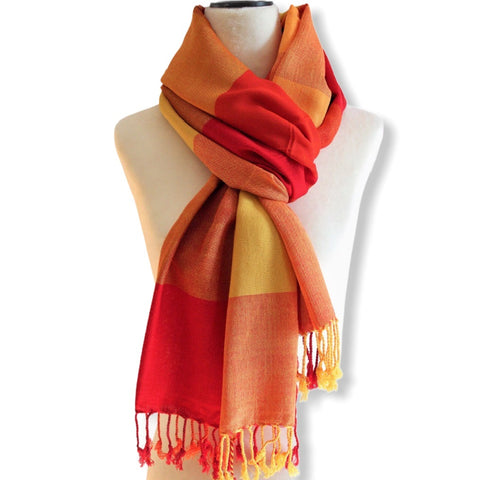 Plaid Handwoven Scarf - Red & Yellow