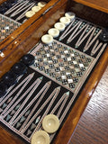 Wood Chess & Backgammon Set Inlaid with Mother of Pearl