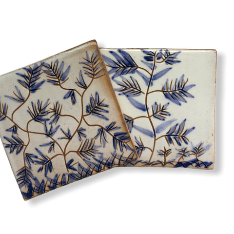 Pottery Coaster - Delicate Flowers