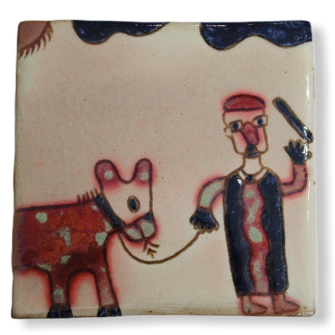 Pottery Coaster - Man & Donkey