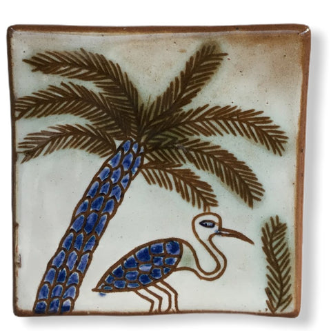 Pottery Coaster - Palm Tree & Egret