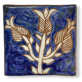 Pottery Coaster - Plant in Blue