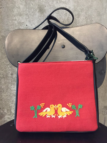 Linen Crossbody Bag with Hand Embroidered Pigeons
