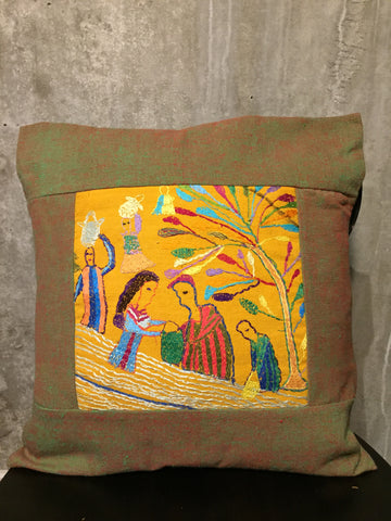 Handwoven Egyptian Cotton Cushion Cover - Hand Embroidered Art - The Harvest