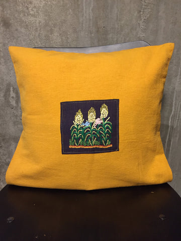 Handwoven Egyptian Cotton Cushion Cover - Hand Embroidered Art - Birds in Wheat Field