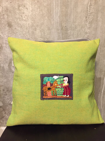 Handwoven Egyptian Cotton Cushion Cover - Embroidered Fellaha with Goat