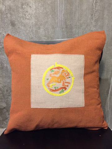 Handwoven Egyptian Cotton Cushion Cover - Hand Embroidered Art - Lion Motif