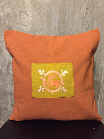 Handwoven Egyptian Cotton Cushion Cover - Hand Embroidered Art - Rabbit Motif