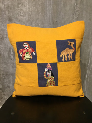 Handwoven Egyptian Cotton Cushion Cover - Hand Embroidered Art - Rural Scenes