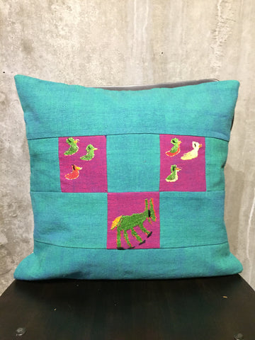 Handwoven Egyptian Cotton Cushion Cover - Hand Embroidered Art - Donkey & Ducks
