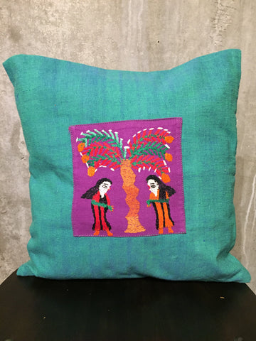 Handwoven Egyptian Cotton Cushion Cover - Hand Embroidered Art - Women Under Palm Tree