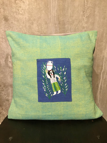 Handwoven Egyptian Cotton Cushion Cover - Hand Embroidered Art - Fellaha Carrying Water Jar