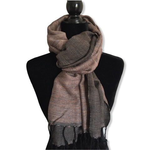 Double-faced Diagonal Handwoven Scarf - Variegated