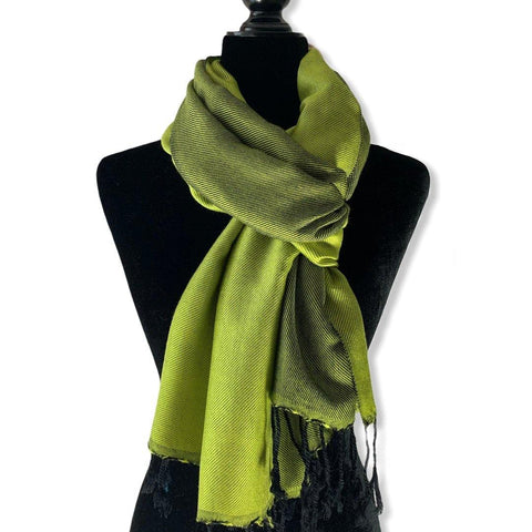 Double-faced Diagonal Scarf - Lime