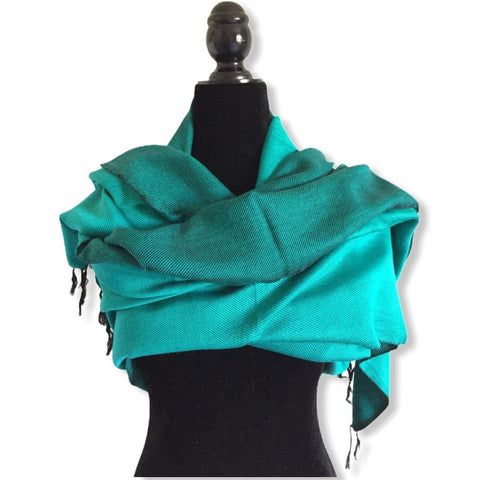Double-faced Diagonal Shawl - Aqua & Black