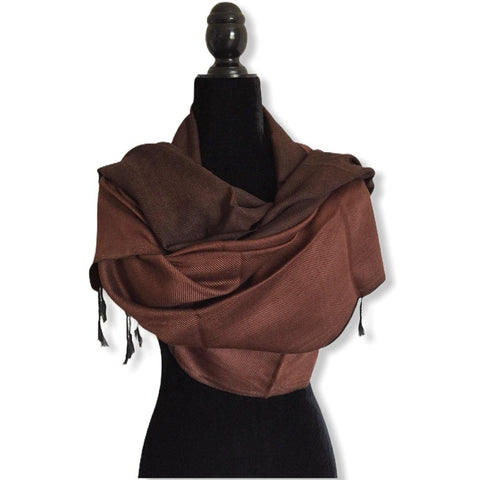 Double-faced Diagonal Shawl - Brown & Black