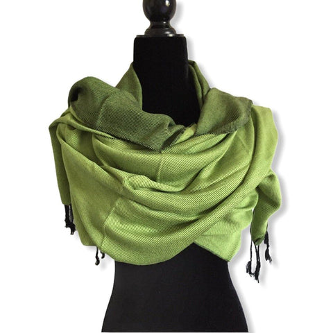 Double-faced Diagonal Shawl - Grass Green