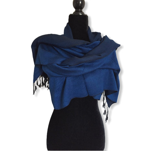 Double-faced Diagonal Shawl - Navy Blue & Black