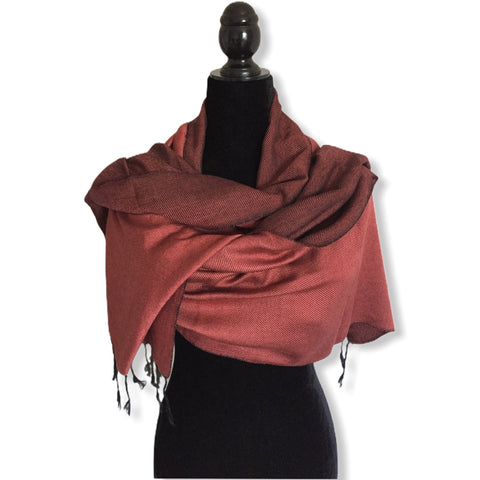 Double-faced Diagonal Shawl - Rosewood