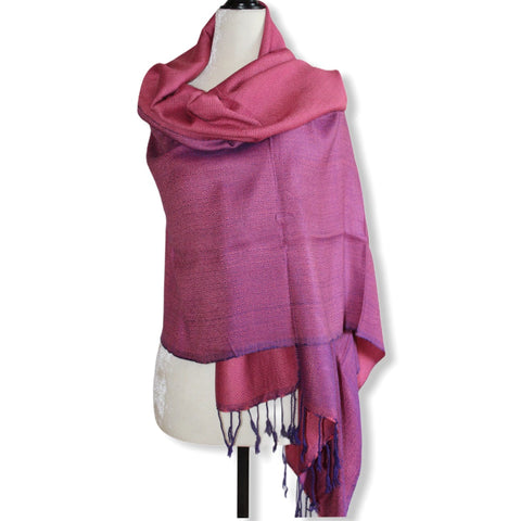 Double-faced Diamond Handwoven Shawl - Pink & Mauve