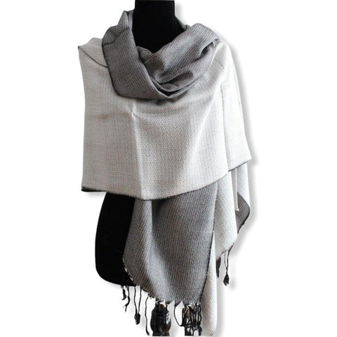 Double-faced Diamond Handwoven Shawl - White