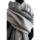 Double-faced Diamond Handwoven Shawl - Light Gray