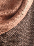 Double-faced Diamond Handwoven Shawl - Salmon