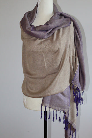Double-faced Diamond Handwoven Shawl - Beige and Mauve