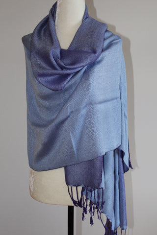 Double-faced Diamond Handwoven Shawl - Light Blue and Mauve