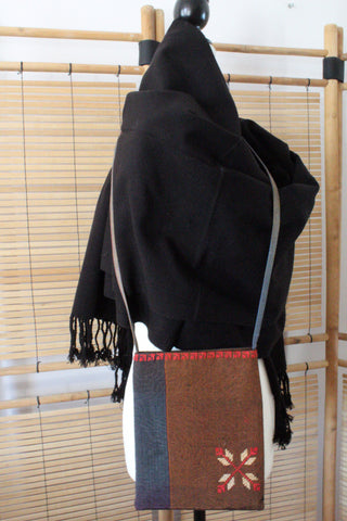 Edith Handcrafted Crossbody - Moiré with Arish stitching