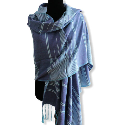 Geometric Handwoven Shawl - Shades of Blue