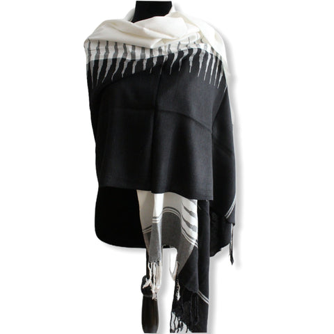 Geometric Handwoven Shawl - White & Black