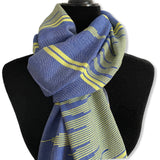 Geometric Design Handwoven Scarf - Blue and Yellow