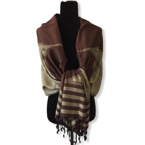 Geometric Handwoven Shawl - Brown & Beige