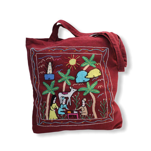 Hand Embroidered Canvas Tote Bag - Burgundy