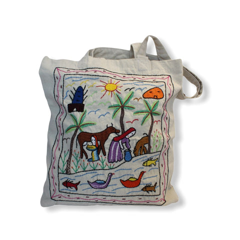 Hand Embroidered Canvas Tote Bag - Off-white3