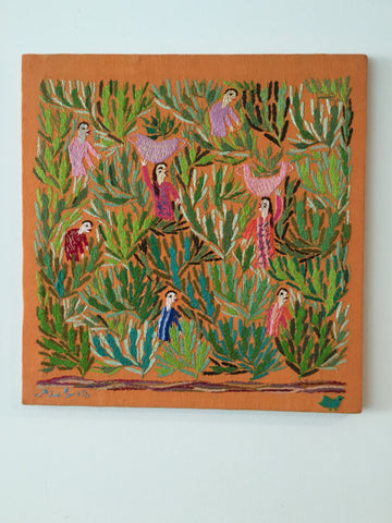 Hand Embroidered Tapestry - Beans Picking